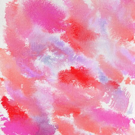 Colorful watercolor background in this handpainted abstract design of pink, red, coral, purple shades.  Design elements for backdrops and paint textures.
