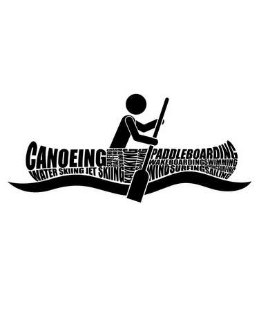 Boat watersport word cloud graphic illustration with a stick person in a kayak shape with words, canoeing, paddleboarding, water skiing, jet skiing, wind surfing, wakeboarding, swimming, sailing.