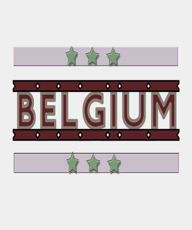 Belgium graphic in modern muted color text with stars, great for Belgian culture, European travel and themes.