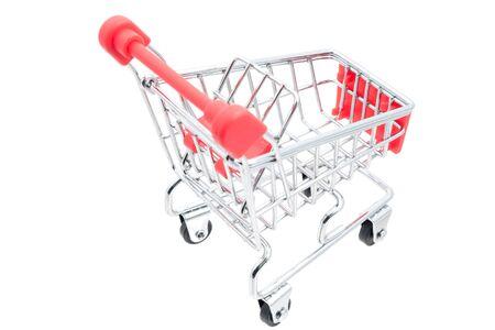 shopping cart miniature on white background