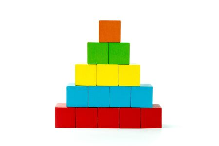 stack of wood cube building blocks, children toy