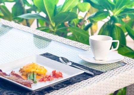 set of breakfast include coffee  egg , bacon Imagens