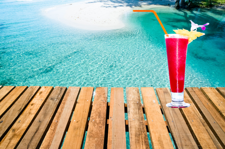 Watermelon shake by beach side for Summer vacation. Imagens - 79500712