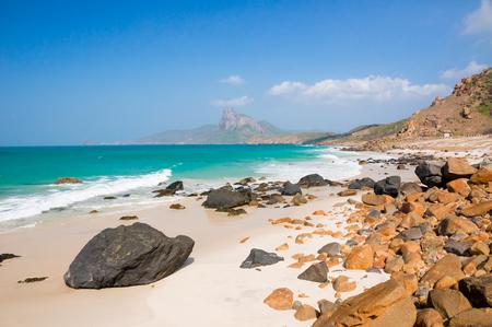 turquoise sea white sand and rocky under sunshine very beautiful nature at Bai nhat beach Condao island - Vietnam. Imagens