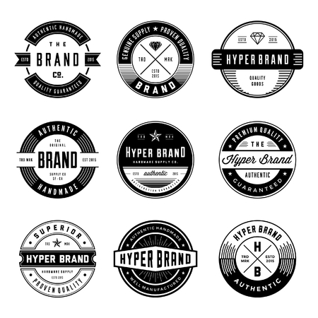 Vintage icon and badges. circular based form. awesome for clothing design, branding, labelling, tag, emblem, etc. Ilustração