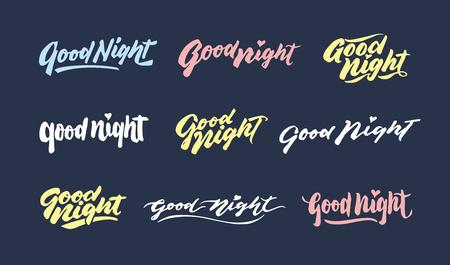 bonne nuit main vintage lettrage typographie voeux phrases design bundle. agréable à utiliser pour la conception de cartes de v?ux et affiches. Vecteurs