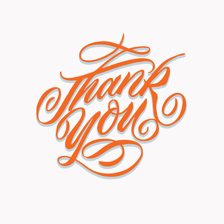 thank you hand written lettering. nice to express thanks giving with retro vintage calligraphy and hand made typography