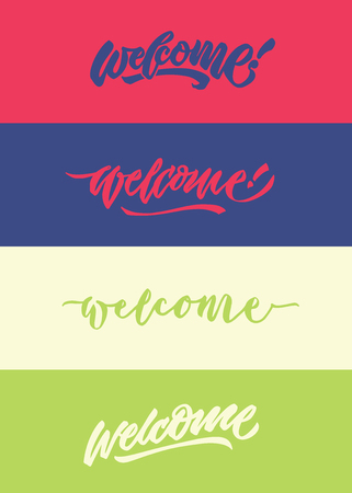 welcome modern calligraphy hand lettering typography greeting poster bundle