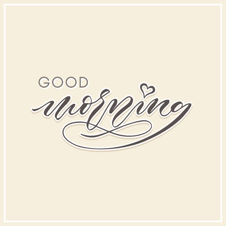 good morning modern calligraphy typography greeting card