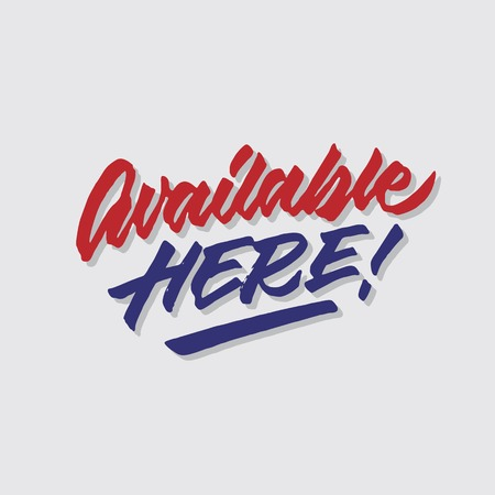 available here hand lettering typography sales and marketing shop store signage poster