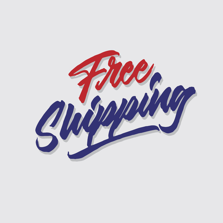 free shipping hand lettering typography sales and marketing shop store signage poster Ilustração