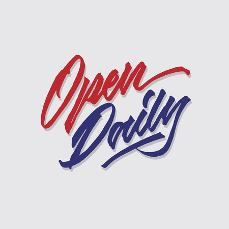 open daily hand lettering typography sales and marketing shop store signage poster Ilustração