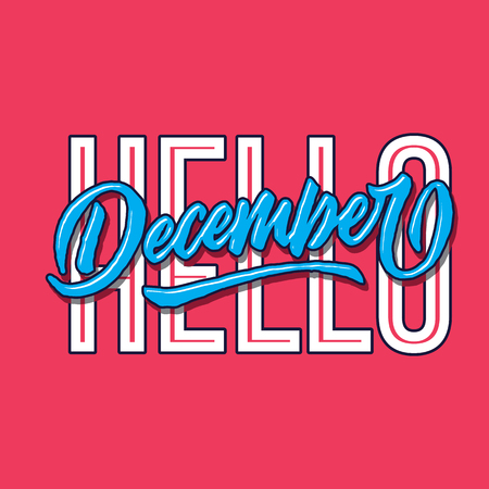 hello december simple hand lettering typography greeting and welcoming poster Çizim