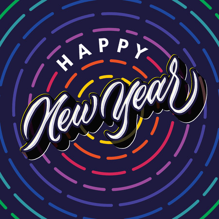 happy new year lettering typography poster