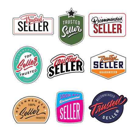 recommended and trusted seller vintage badge design template Ilustração