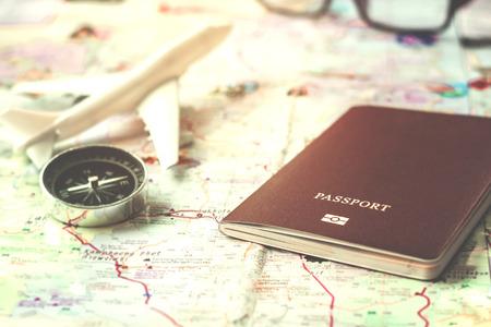 여행 계획을 닫습니다 여권 (소프트 포커스) 스톡 콘텐츠