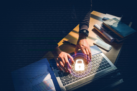 Cyber security job Business, technology, internet and networking concept Foto de archivo