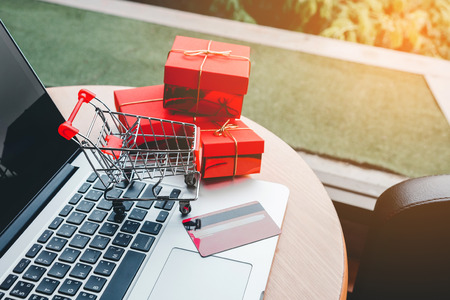 Shopping online with credit card concept Stock Photo