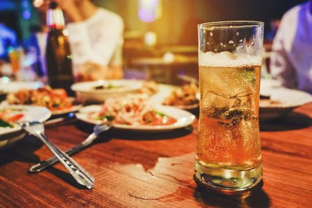 Beer Party and grilled chicken happy enjoying in party Stock Photo