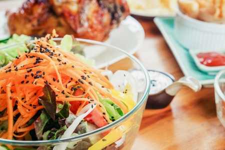 Salad and food in party at home