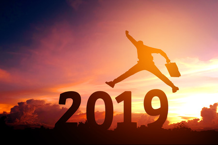 Silhouette young business man Happy for 2019 new year 스톡 콘텐츠