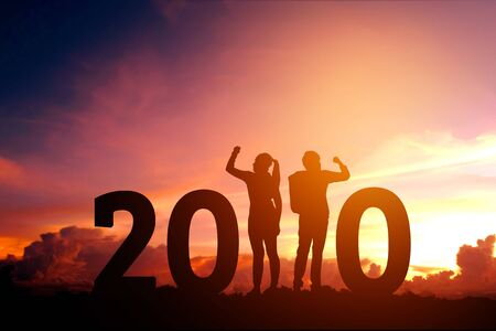 2020 Newyear  Couple celebration success of 2020 Happy new year concept 스톡 콘텐츠