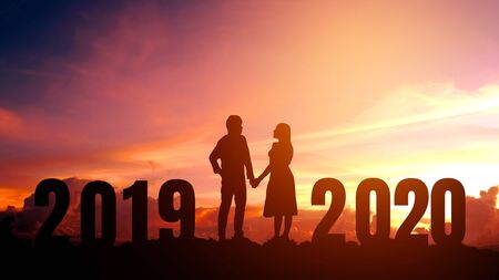 2020 Newyear Silhouette young couple Happy for  romantic new year concept.