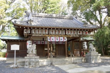 Shinto shrine with dog guards  komainu   Nagaokakyo, Japan Stock Photo - 15157090