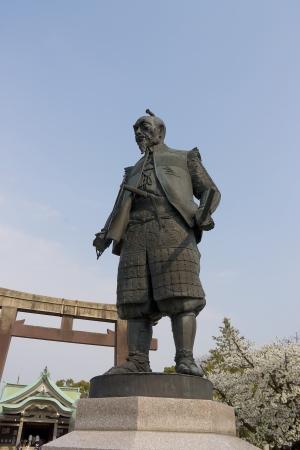shogun: Statue of Toyotomi Hideyoshi  in Hokoku Jinja shrine near Osaka castle, Osaka, Japan  Editorial