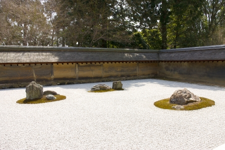 karesansui: Rock garden  kare-sansui  in Ryoan-ji temple, Kyoto, Japan   Editorial