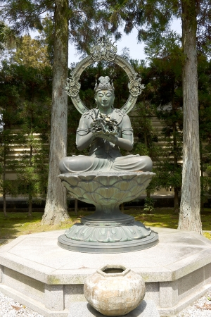 bodhisattva: Statue of Kongoke Bosatsu, a bodhisattva associated with flowers, near the treasure hall  Reiho-kan  in Ninna-ji temple  Kyoto, Japan Stock Photo