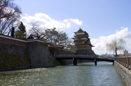 Takashima castle main keep and walls  Suwa town, Nagano prefecture, Japan  Stock Photo - 15246483