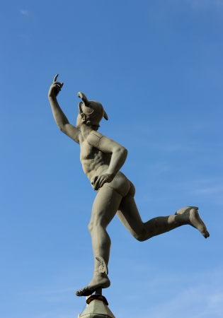 Hermes statue  in the historical part of Gdansk, Poland