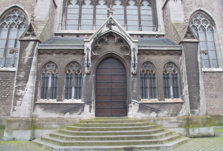 Side entrance of the Church of Saint Peter and Saint Paul (Sint-Petrus-en-Pauluskerk, circa 1905). Ostend, Belgium  Stock Photo - 17118665