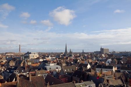 belgie: View of Ghent town from the Gravensteen castle  East Flanders, Belgium