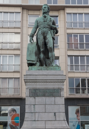 belgie: Bronze monument for Lieven Bauwens  circa 1872 , Belgian entrepreneur and industrial spy  Ghent, East Flanders, Belgium