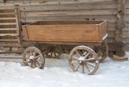 Russian traditional cart. Vitoslavlitsy open-air museum of wooden architecture. Novgorod the Great, Russia   photo
