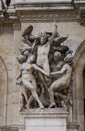 garnier: Sculpture Dance (copy of 1932). Facade of Garnier Opera, Paris, France
