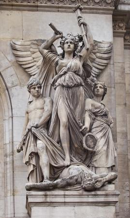 garnier: Sculpture Lyrical Drama (circa 1869). Facade of Garnier Opera, Paris, France