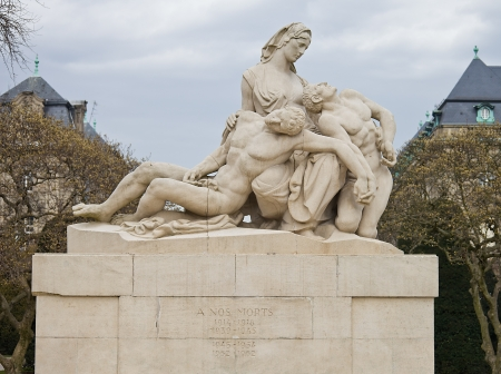 squire: War memorial sculpture  For our deads (circa 1936) on Republic Squire of Strasbourg. Alsace region, France