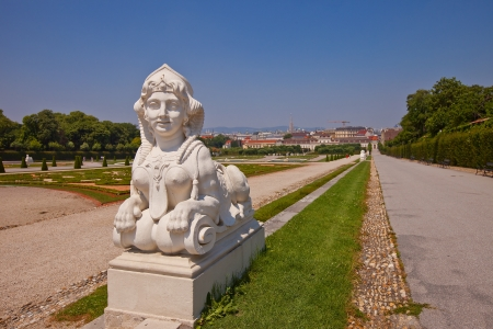 Sculpture of Sphinx  circa XVIII c    in the garden of Belvedere Palace  Vienna, Austria
