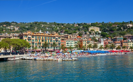 Crowded beach of Santa Margherita Ligure town in summer  View from the bay  Liguria, Italy Stock Photo