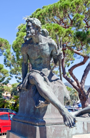 arturo: Statue of Neptune god  Part of the monument for Christopher Columbus in Rapallo town  Made by Arturo Dresco, 1914  Province of Genoa, Liguria, Italy