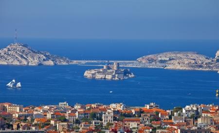 monte cristo: View of If castle and Marseilles city from the Notre-Dame de la Garde church