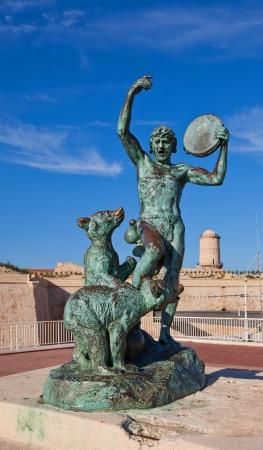 showman: Sculpture of dancer and bears  Work of sculptor Louis Botinelly, 1911  Esplanade de la Tourette, Marseilles, France