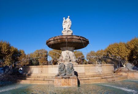 Fountain Rotonde  Fountain of Three Graces, circa 1860   Architect Theophile de Tournadre  One of the most famous monuments of Aix-en-Provence, France