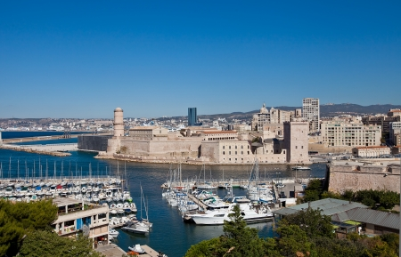 View of Marseilles harbor and Fort Saint-Jean  circa 1660  from Fort Saint-Nicolas  Marseilles, France Stock Photo