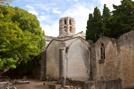 arles: Church of Saint Honoratus  Eglise Saint-Honorat, circa XIII c   on the Roman necropolis  Alyscamps, UNESCO site  in Arles  National Heritage Site of France  monument historique