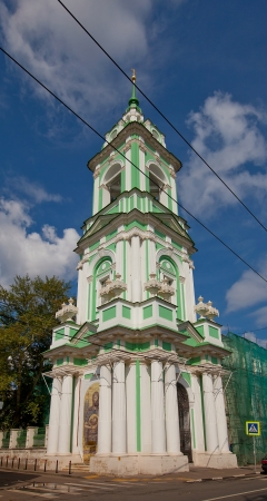 beheading: Recently restored bell tower  circa XVIII c   of orthodox church of Beheading of St  John the Baptist  Moscow, Russia Stock Photo