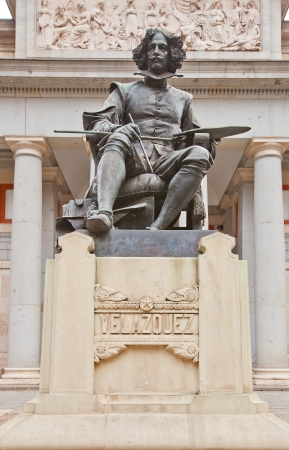velazquez: Monument to Spanish painter Diego Rodriguez de Silva Velazquez in front of Prado Museum  Madrid, Spain  Made by sculptor  Aniceto Marinas in 1899